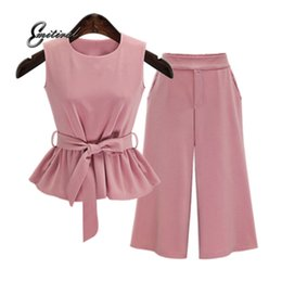 Three Piece Suit Bow Australia - 2018 Plus Size 5XL Summer European Style Sleeveless Tops Three Quarter Pants Women Sets Pink Color Sashes Bow Female Suits
