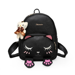 China ximier Cat Backpack Black Preppy Style School Backpacks Funny Pu Leather Fashion Women Shoulder Bag Travel Back Pack Sac A Dos cheap pack sac suppliers