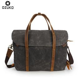 satchel messenger 2019 - OZUKO Brand Men Vintage Canvas Messenger Bag Briefcase Crazy Horse Leather Handbag Men Shoulder Bag Business Casual Cros