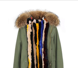 brown parka women UK - brown fur trim Jazzevar women snow coats multicolour stripe colour rabbit fur lining army green canvas mini parkas