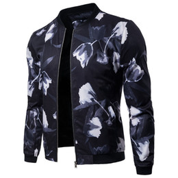 China 2018 Mens Floral Printed Casual Jackets Coat Long Sleeve Flower Bomber Jacket Windbreaker Baseball Coat Fashion Urban Clothing cheap urban jackets suppliers