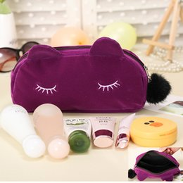 $enCountryForm.capitalKeyWord Canada - Best Portable Cute Cat Makeup Bag 4 colors Cartoon Cat Coin Storage Case Travel Makeup Flannel Pouch Cosmetic Bag Ladies Handbag DHL Free