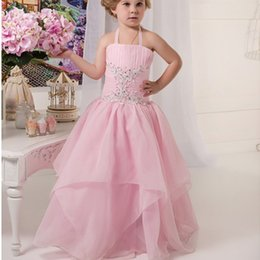 Cute Girls Halter Dresses NZ - Halter Pink Custom Cute Lace Flower Girl Dresses Lolita Floor Length Hand Made Flowers Bows Kids Prom Birthday Dresses