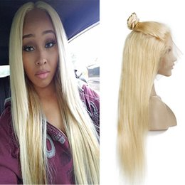 $enCountryForm.capitalKeyWord NZ - Top Quality Brazilian Straight Lace Front Human Hair Wigs With Baby Hair Brazilian 613# Blonde Glueless Full Lace Wigs For Black Women