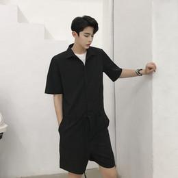 1e0c29b471bb Men Streetwear Fashion Hip Hop Casual Short Sleeve Overalls Drawstring Pant Summer  Male Women Tooling Jumpsuit Trouser