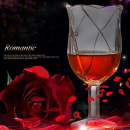 Gift ware online shopping - High Grade Rose KTV Cup Flower Shape Beer Glasses Steins ML Pint Juice Transparent Drink Ware Cocktail Holder Oxhorn Gift