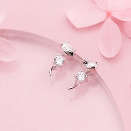 $enCountryForm.capitalKeyWord NZ - wholesale Hot Sale Authentic 925 Sterling Silver Cute Cat Stud Earrings with Clear CZ for Women Fashion Original Silver Jewelry