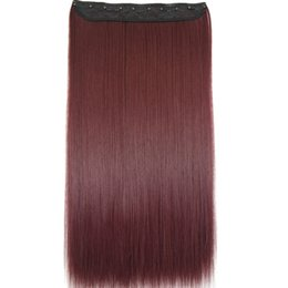 "Discount clip heat resistant hair extensions - TOPREETY Heat Resistant B5 Synthetic Hair 24"" 60cm 130g Straight 5 clips on clip in hair Extensions 30 colors avail"