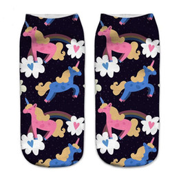 994b1a22fc4b 3D Print Unicorn Art Socks Funny Cotton Low Cut 2017 Summer Ankle Sock  Fashion Unicorn Socks for women girls