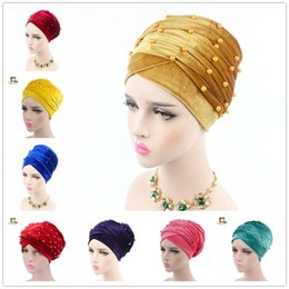 $enCountryForm.capitalKeyWord NZ - New Beaded Studded Pearled Extra Long Velvet Turban Head Wraps Hijab Head Scarf velvet Luxury Woman Velvet Turban Headband