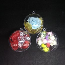 Discount ball box plastic - hot Clear Candy boxes Romantic Design Christmas Decorations Ball Transparent Can Open Plastic Christmas Clear Bauble Orn