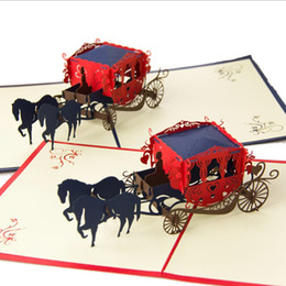 Kirigami Pop Up Card Love NZ - Handmake Wedding lnvitations Love Carriage Laser Cut Paper Cutting Greeting Pop Up Kirigami Card 3D Postcards Wishes Gifts