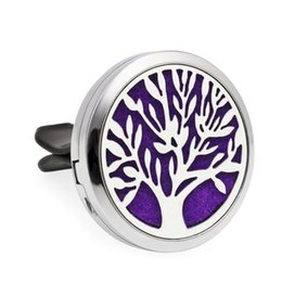 silver diffuser locket Australia - Tree of life Aroma locket Essential Oil Car Diffuser Locket air Fresh Vent Clip Pendant Perfume locket Magnetic Randomly 10pcs Pads as Gift