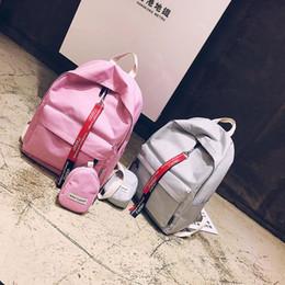 Ladies Grey Backpack Handbag Australia - Pink Handbags Backpacks Designer Solid Color Two Sets School Bags College Preppy Style Shoulder Bag Canvas Casual Travel Ladies Backpack