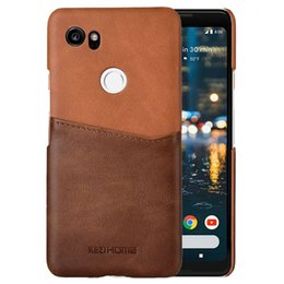 Discount pixel pocket - for Google Pixel 2 XL Case Two-Tone Vintage Insert Card Genuine Leather Back Shell Cover for Pixel 2 XL Coque