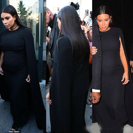Discount kim kardashian royal blue mermaid dresses - Kim Kardashian Black Jersey Celebrity Maternity Evening Gowns Wear for Pregnant Women prom Party Dress Cape Formal Gown