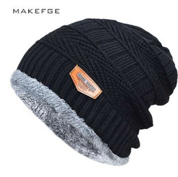 Fallen Hats Australia - Men's winter hat fashion knitted black hats Fall Hat Thick and warm and Bonnet Skullies Beanie Soft Knitted Beanies Cotton