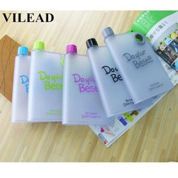 online shopping VILEAD ml Novelty Camping Sport Water Bottle Plastic Paper Space Bottle Portable Flat Notebook Bicycle Beautiful Water