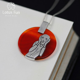 Fun Pendant Australia - Lotus Fun Real 925 Sterling Silver Natural Agate Handmade Fine Jewelry The Scream Painting Pendant without Necklace for Women S18101308