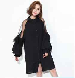 0b8d7e173ce0 2018 Apparel Solid Black Mesh Sheer Sexy Mini Dress da donna Lace-up  Backless con risvolto Splicing Abiti con maniche a lanterna trasparente