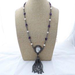 "Necklaces Pendants Australia - N112404 27"" White Pearl Hematite Necklace Keshi Pearl Pendant"