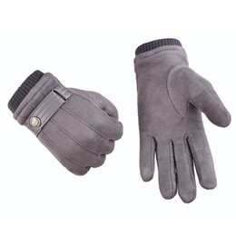 Fine men online shopping - Autumn Winter Touch Screen Gloves Cold Proof Mittens Driving Super Fine Fiber Suede Imitation Leather Warm Glove yy gg