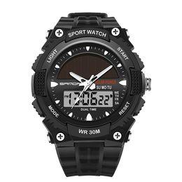 Chinese  Men's Golden Luxury Sport Watch Waterproof Water Resistant LED Night Using Watch Solar Dual Display Digital Calendar manufacturers