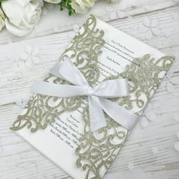 $enCountryForm.capitalKeyWord Australia - 2019 New Light Gold Glitter Laser Cut Invitations Cards With Beige Ribbons For Wedding Bridal Shower Engagement Birthday Graduation