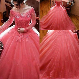 $enCountryForm.capitalKeyWord NZ - 2019 Modest Watermelon Sweet 16 Dresses Long Sleeves Lace Tulle Ball Gown Quinceanera Dresses Off Shoulder Prom Dresses Elegant