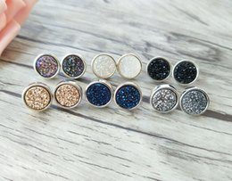 $enCountryForm.capitalKeyWord Australia - 5 Pairs 12mm Round Shape Stone Stud Jewelry Natural druse crystal Titanium Druzy Gem stone Stud Earrings ER345