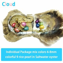 $enCountryForm.capitalKeyWord Australia - 6-8mm Mix Colors 9 Rice Oval Pearl In Saltwater Oyster Colorful Pearl Shell Gift DIY Fashion Jewelry Vacuum Package Free shipping