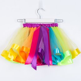 $enCountryForm.capitalKeyWord NZ - Kids Skirts 2018 Summer Toddler Children Petticoat Rainbow Bowknot Candy Color Three Layers TuTu Skirt Dancewear BaBy Girls Clothing