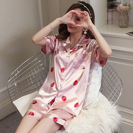 $enCountryForm.capitalKeyWord Canada - Lovely strawberry pajama girl summer ice silk short-sleeved silk two sets of pure and fresh students summer home clothes