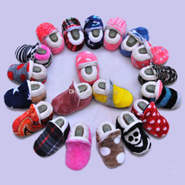 $enCountryForm.capitalKeyWord NZ - Baby coral velvet shoes Infant plaid Dot Skull zebra Leopard Print First Walkers Soft bottom Toddler Winter cotton shoes 18 colors C5170
