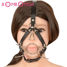 Metal Mouth Gags NZ - Spider Shape Metal Ring Open Mouth Gag Ball Gag With Nose Hook SM Tools Sex Slave Mouth Plug Full Head Harness Fetish Sex Toy O3 Y18100703