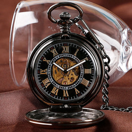 self winding pocket watch Canada - Antique Classic Black Transparent Gold Roman Numbers Dial Pocket Watch Mechanical Self Wind Automatic Fob Watches