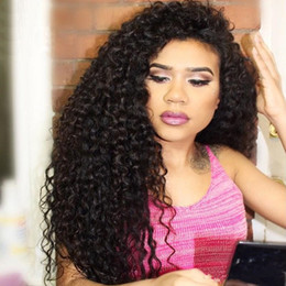 Kinky Curly Human Hair Afro Wigs Australia - Full Lace Human Hair Wigs Afro Kinky Curly Brazilian Remy Hair Natural Black Pre Plucked Full Lace Wigs With Baby Hair