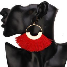 China Bohemian Handmade Statement Tassel Earrings for Women Vintage Round Long Drop Earrings Wedding Party Bridal Fringed Jewelry Gift supplier vintage copper earrings dangle suppliers