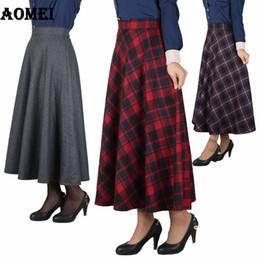 ladies woolen clothes 2018 - Women Retro Woolen Skirt Midi Gingham Vintage Empire Waist Zipper Ladies Modest Retro Plaid Jupes Female faldas Saias Cl