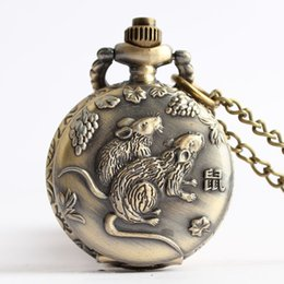Mouse watches online shopping - Antique Steampunk Lovely Cute Rat Mouse Small Style Quartz Pocket Watch of Vintage Male Female Boys Girls Necklace Chain