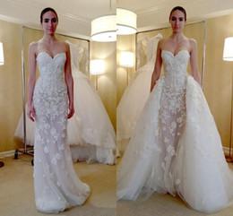 Zipper Empire Wedding Dresses Australia - Modest Beaded Appliques Overskirt Wedding Dresses Zipper Up Back Sleeveless Bridal Dresses Custom Made Wedding Gowns With Detachable Train