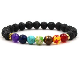 Wholesale 7 Chakra Bracelet Men Black Lava Healing Balance Beads Reiki Chakra Buddha Prayer Natural Stone Yoga Bracelet Women Jewelry Price