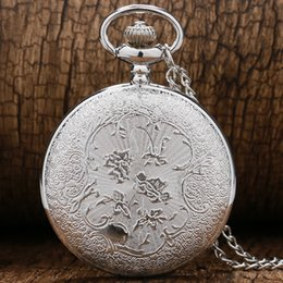 Hollow Watches Men Australia - Pocket Watch With Necklace Chain Fob Pendant Silver Hollow Roman Number Case Quartz For Men Women 2018 New Arrive