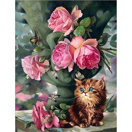 $enCountryForm.capitalKeyWord NZ - Aged favorite diamond painting DIY 5D Living room bedroom handmade cross embroidered mosaic pink flower and cat diamond painting