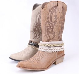 f5ed38795 Damet Mujeres PU Cuero Rodilla Bota de vaquero Botas de vaquera con Encaje  y Decoración de cadena Zapatos occidentales Botas de moto