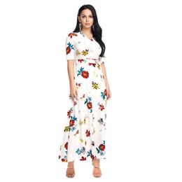 be425bd1c5bdd3 Frauen Maxi A Linie Kleid Sommer Casual Long Vintage Kleider V-Ausschnitt  Blumendruck Vestidos Half Short Sleeve Schärpen Schwarz Weiß