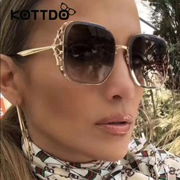 d08b23edc0e Square Big Metal Frame Women Sunglasses Lady Fashion Brand Designer Hollow  Sun Glasses For Women UV400 Female Transparent Lens