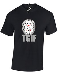 black jason hockey mask UK - Details zu TGIF HOCKEY MASK MENS T-SHIRT HALLOWEEN JASON FRIDAY 13TH SCARY DESIGN (COL) Funny free shipping Unisex Casual gift