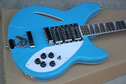 Fret guitar online shopping - Semi Hollow Light Blue Electric Guitar with Strings R Tailpiece White Pearl Fret Inlay Chrome Hardware Pickups Knobs