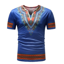 Chinese  2018 Summer African Tradition Dashiki Men Clothes T-Shirt Print Man Clothing Short Sleeve Tops Shirt manufacturers